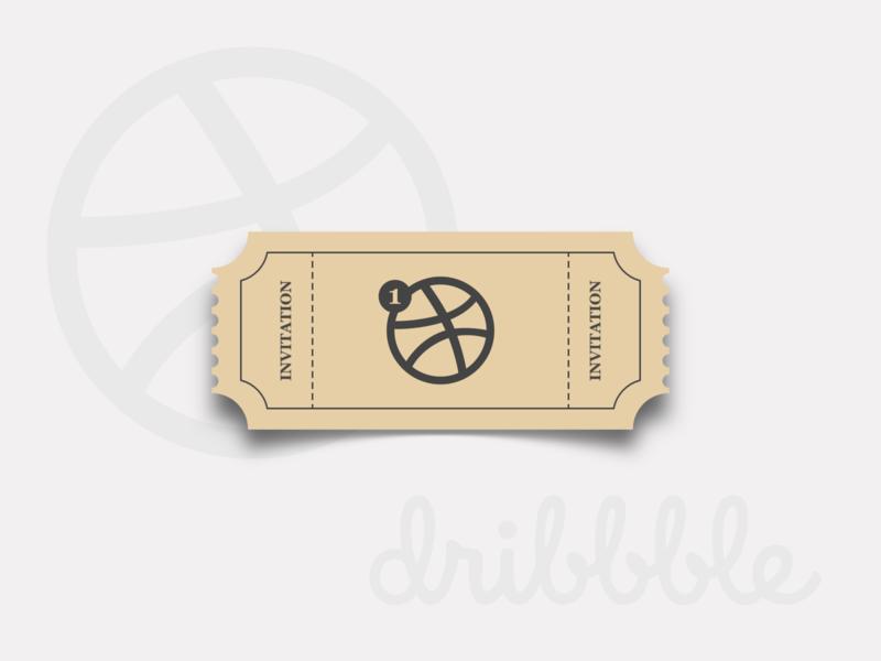 Dribbble Invitation. flatdesign vectorart vector ticket invitation invite dribbble invite