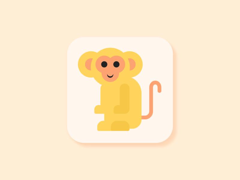 Monkey Icon - Weekly Warm-Up weeklywarmup vectorillustration vector monkey illustration icon flat design dribbbleweeklywarmup dribbble