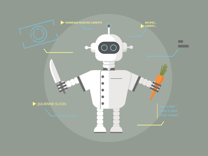 Chef Robot - Weekly Warm-Up flat  design vector illustration carrot recipe cooking food robot chef weeklywarmup dribbbleweeklywarmup dribbble