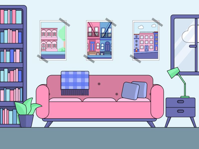 Living Room borders interior room livingroom 2d flat  design vectorillustration illustration vector