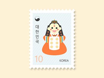 Stamp Korea - Toddler in Hanbok - Weekly Warm-Up 한국 한복 characterdesign weeklywarmup dribbbleweeklywarmup flatdesign vector travel stamp toddler dress hanbok korea