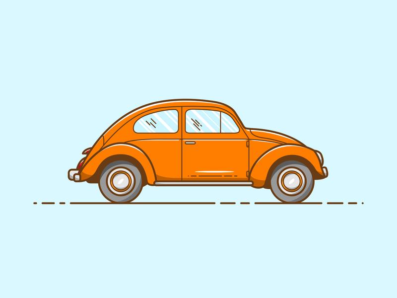Coccinelle - Vector Illustration vintage iconic car volkswagen coccinelle illustrator vector illustration graphic design design