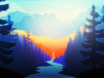 Warmth Morning design silhouette painting adobe landscape nature digital art graphic  design illustration digitalart graphic art