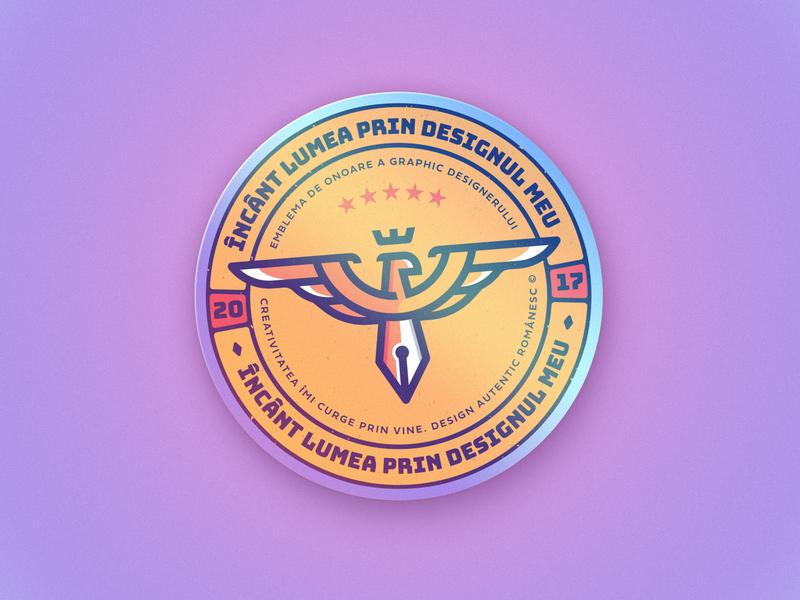 The graphic designers' holo badge of honor crown eagle asaftisme logo badge