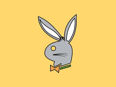 Bugs Bunny & Playboy bugs bunny playboy classic cartoons cartoon network imagination illustration cartoon flat vector design concept simple logo branding identity clean
