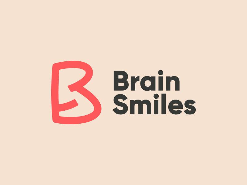 Brain Smiles Logo brand b letter typography clean logo simple branding identity