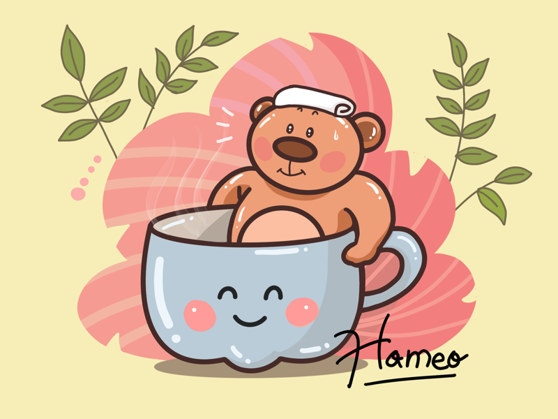 Cute summer bear doodle art illustrator