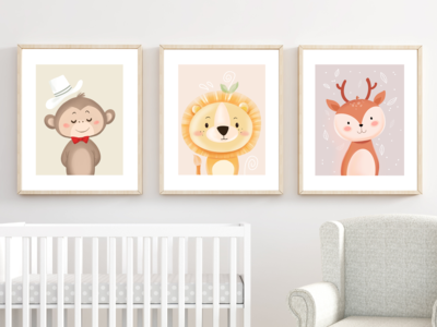 Cute SAFARI ANIMALS - Nursery Printable art