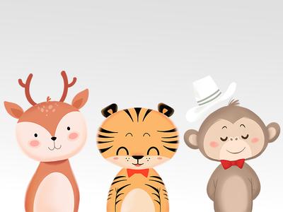 Safari friends forest animals woodland cute safari cute animal cute animals digital painting procreate illustration illustrator