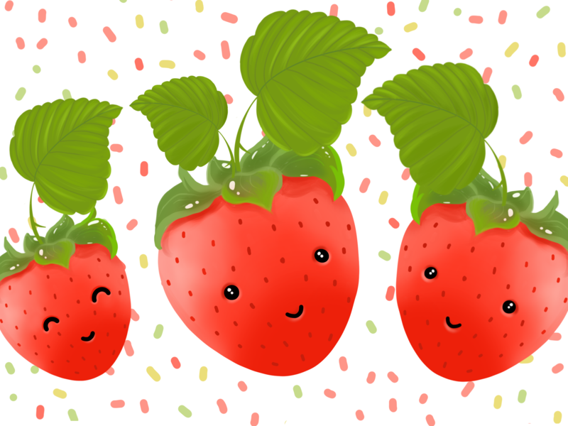 Strawberry family - Happy Father's Day cute fruit illustration happy fathers day fathers day digital painting illustration procreate illustrator