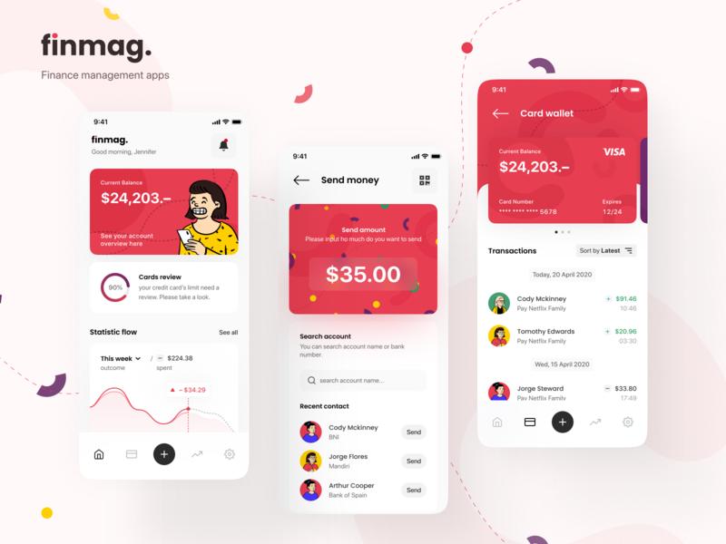 Finmag - Finance Management Apps mobile app money app mobile ui statistics ui clean banking finance fintech mobile app layout user inteface design