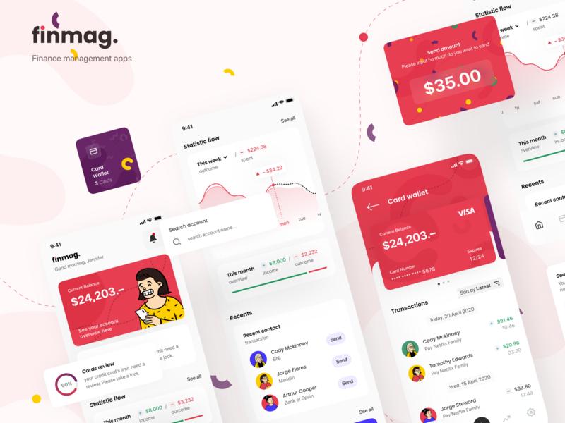 Finmag: Finance Management Apps. finance components component atomic modular fintech app fintech mobile mobile app layout user inteface design