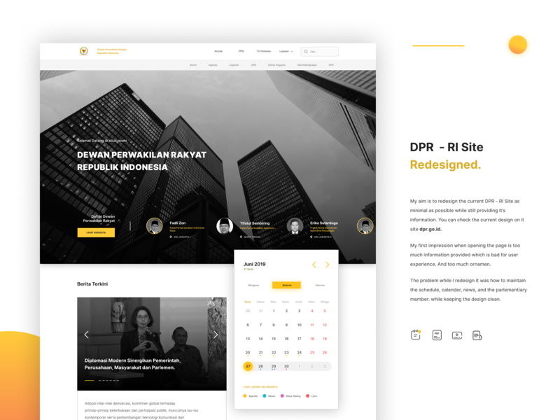 Redesign Landing Page DPR - RI branding user experience layout exploration layout design concept website concept web design homepage calendar typography flat layout user inteface ui design landing landingpage webdesign website