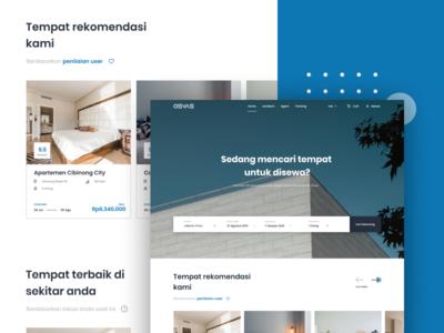 Osvas Landing Page - Property Renting Service homepage layout user inteface booking blue minimal color clean web webdesign website landing branding app ui design