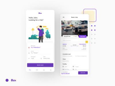 Bux: Bus Exchange mobile mobile app booking app illustration clean user inteface ui layout design