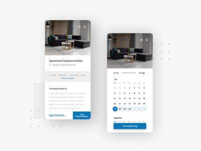 Osvas - Property Rent booking calendar app blue mobile app mobile ui user inteface layout design