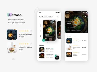 Autofood - Design Exploration. food app food mobile mobile app clean app ui user inteface layout design