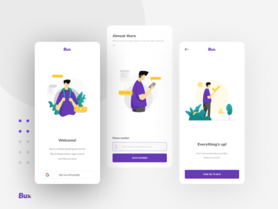 Bux: Bus Exchange - Login mobile app app booking clean ui user inteface design layout