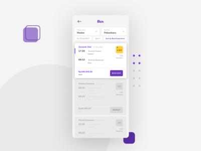 Bux: Bus Exchange - Bus List purple typography ui app clean mobile app mobile booking user inteface layout design