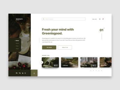 Greenisgood - Landing page exploration design. everyday design concept website webdesign landing app clean design ui user inteface layout