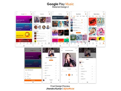 GooglePlay Music with New Material Design 2 Design Final Preview
