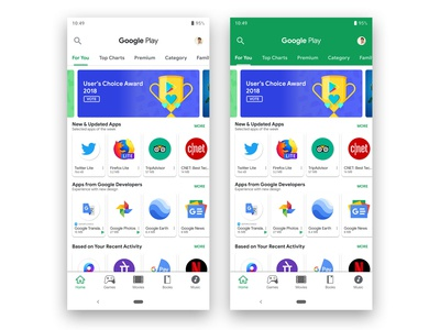 Google Play Store Redesign with Material Design 2