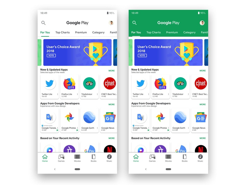 Google Play Store Redesign with Material Design 2 by Kumar Jitendra