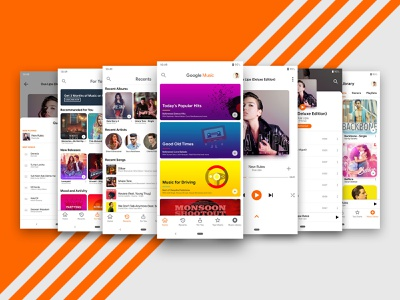 Google Play Music Redesign | Material Design 2 ux animation app development app concept material colors minimal android app development ios app development ios app design android app design android app google play music app design app dashboard vector material design 2 design ui material design illustration