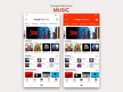 Google Play Store- Music Redesign | Material Design 2