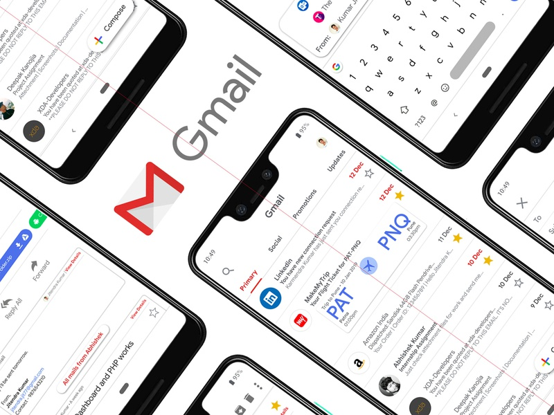 Gmail app Redesign web vector app animation typography app development concept design logo branding google apps ios app development ios app design app concept illustration android app development ui ux android app design material design app design app dashboard