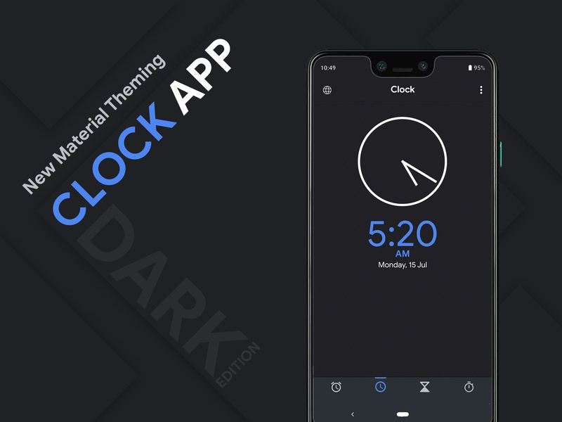 Clock app UI Redesign | Material Design typography ios app design web design app designer app development clock google apps vector branding ui  ux design ui ux material design android app design app concept iphone 10 illustration concept design app design app dashboard