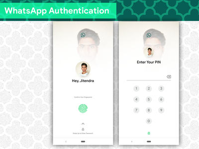 WhatsApp Fingerprint Authentication web design google design icon typography concept design android app logo ios app development branding android app development ios app design app concept vector ux ui illustration app dashboard app design android app design material design