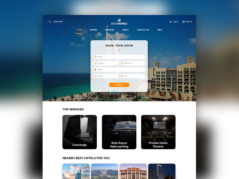 Web Design of A Hotel Booking Website typography material design app dashboard fluent design web 3.0 icon uikits vector ux ui app concept branding app design dash board website dashboard illustration logo web deisgn website builder website concept