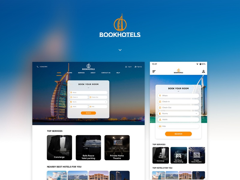 BookHotels | A Hotel Booking Website | Web Design website web vector animation web design and development web design design branding typography concept design responsive design logo dash board app concept ux ui illustration app dashboard app design material design