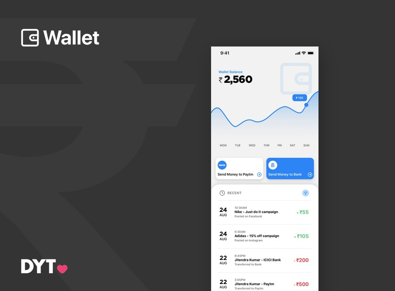 Wallet Design - DYT branding vector android app design app concept ux ui material design illustration app dashboard app design