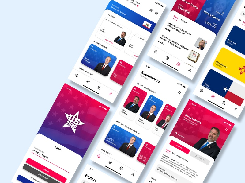 US Election 2020 app typography concept design ios app design vector app concept ux ui illustration app dashboard app design