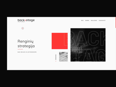 Backstage backstage ux ui interaction button design clean ui footer design animation carousel projects smooth scroll index page