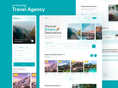 Dreamstay Travel Agency - Landing Page product design user experience web design tourism landing page branding ux ui