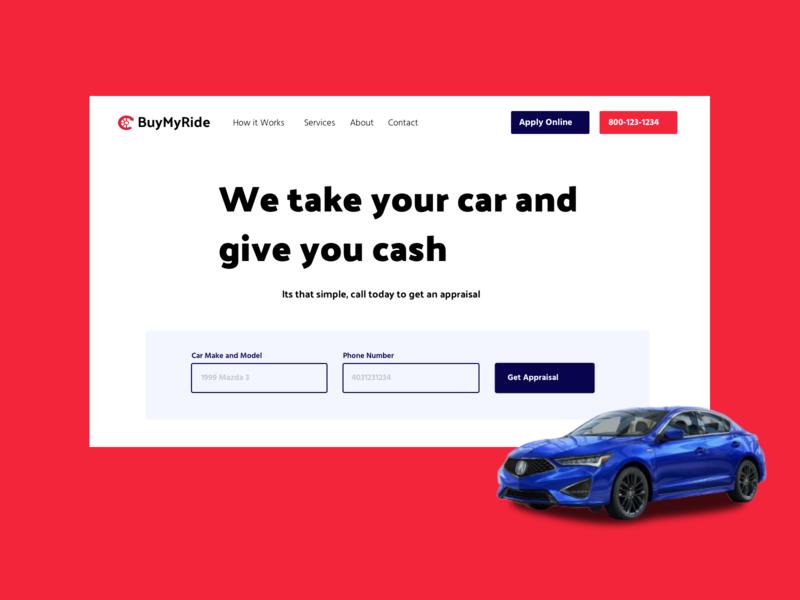 BuyMyRide Hero page design
