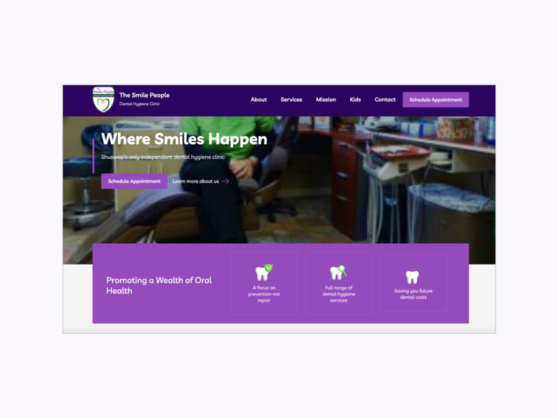 The Smile People Hero page design