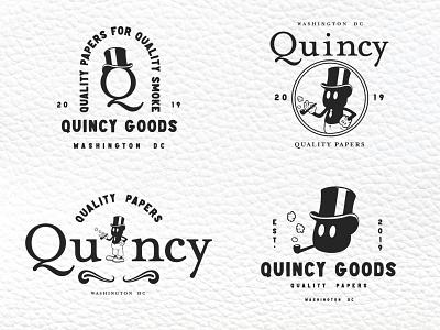 Quincy Badges mascot design mascot logo mascot character type classy top hat paper smoking smoke tobbacco quincy badge logo badge badgedesign dribbble designer adobe graphic  design design