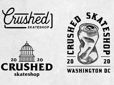 Crushed Skateshop Lockups typography vector branding washington dc dc type logotype logo lockup skateshop crushed skateboarding graphic  design design