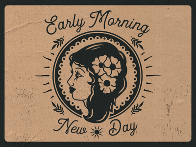 Early Morning early sunrise type lockups new day vintage early morning morning tropical island girl hawaiian lockup logo illustration graphic  design design
