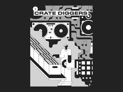 Crate Digger design geometric illustration speaker microphone crate digging rap geometric illustration sample turntable character grid records record shop record store music hiphop dj crate digger black and white