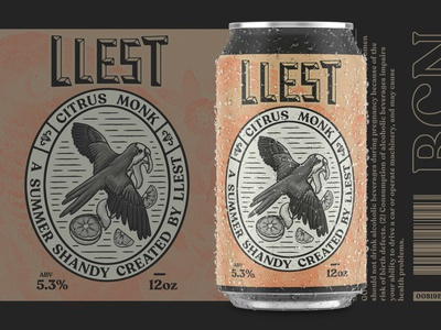 LLEST Brewery Can Design orange citrus spain catalonia brewery logo beer art vintage lockup parrot catalan barcelona brewery branding beer label can design packaging beer branding brewery beer beer can