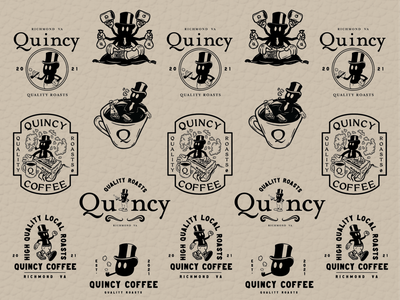 Quincy Coffee Logos logo lockup 2 color black and white quincy coffee logo coffeeshop streetwear cartoon logo lockup logos coffee lockups illustration graphic  design