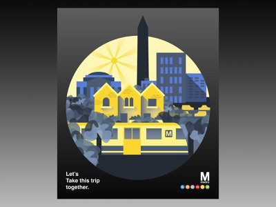 Metro Poster Concept yellow and blue designer graphic  design city train washington dc 2 color flat  design poster metro vector illustration design
