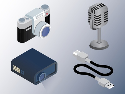 Tech Icons 2 color shot technology tech cable projector microphone camera icons assets icon graphic vector illustration dribbble designer adobe graphic  design design