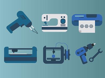 Tech Tools Icons laser machine gun vinyl sewing machine sewing technology tech assets icons icon shot graphic vector illustration dribbble designer adobe 2 color graphic  design design