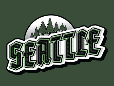Seattle Typography emerald city usa northwest washington seattle typography lettering illustrator type shot vector graphic city illustration designer 2 color dribbble adobe graphic  design design